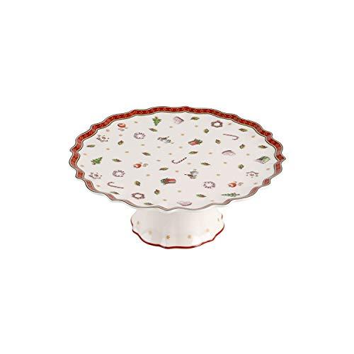 Villeroy und Boch Toy's Delight Kleine Kuchenplatte auf Fuß, 21 cm, Premium Porzellan, Weiß/Rot