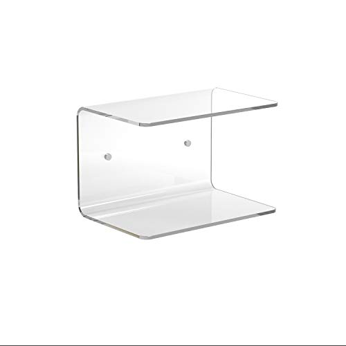 LuceSolida - 'Two Fold' Mensola a C in Plexiglass Comodino Salvaspazio L30xH20xP20 cm