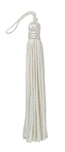 DÉCOPRO Set of 10 White Chainette Tassel, 3 Inch Long with 1 Inch Loop, Basic Trim Collection Style# RT03 Color: A1