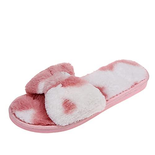 Pantoufles Femme Peluche Pantoufles Femme Bout Ouvert Chaussons de Maison Antidérapantes Sandale Extérieur et Intérieur Plates Fluffy Velu Slippers