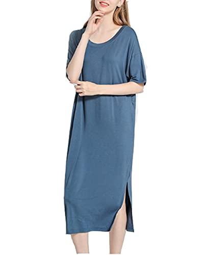 DSJJ Camicie da Notte Donna Modale Sexy Vestiti Premaman Donna estive Pigiami Gravidanza Maniche Corte Taglie Forti (Blu Scuro,Taglia Unica)