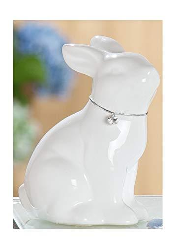 Statuetta decorativa a forma di coniglio pasquale, coniglio decorativo, in ceramica smaltata bianca con collana, 12 x 8 x 14 cm