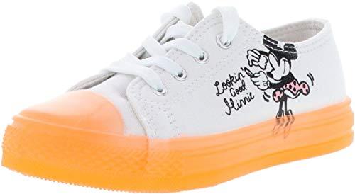 Leomil Kinder Mädchen Halbschuhe Turnschuhe Sneaker Minnie Mouse weiß/orange/schwarz, Farbe:Weiß, Größe:28