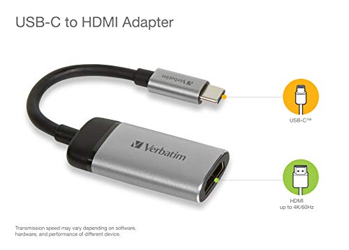 Verbatim USB-C auf HDMI 4K Adapter - Für den Anschluss von Laptops, MacBooks an einen Projektor oder Monitor, grau