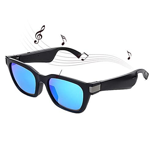 FRIBLSKEL Gafas Bluetooth Inteligentes Gafas Sol con Audio Lente UV400,Audifonos Inalambricos Altavoz Estéreo Abierto con Conectividad Bluetooth para Juegos, Reuniones, Viajes,Azul