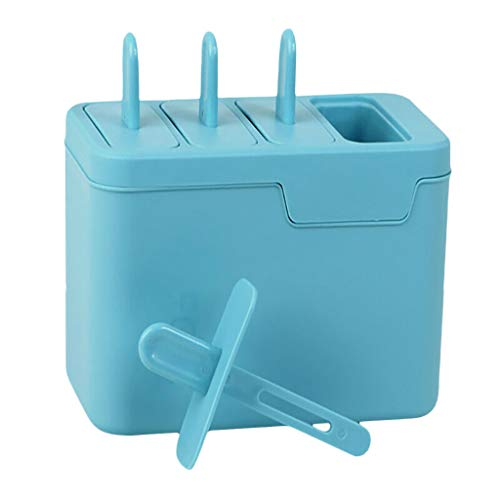 MULIN Food Grade Pp Material Defrosting Tank Design Ice Making Mould Long-Handled Popsicle Design Easy to Use Compartmental Design Ice Tube Tray Popsicle Mold Blue