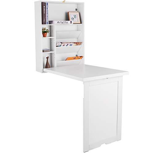 COSTWAY Wandtisch klappbar, Wandklapptisch aus Holz, Bartisch Esstisch Küchentisch, Computertisch Klappschreibtisch Laptoptisch Schreibtisch (weiß)