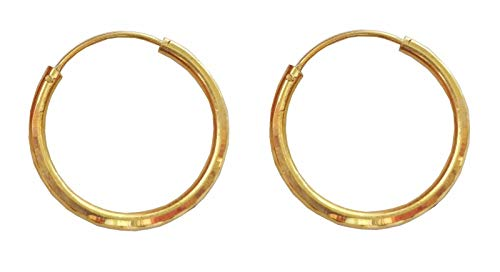 Latest Indian Round Design Solid 18K Yellow Fine Gold Plain Hoop Earrings