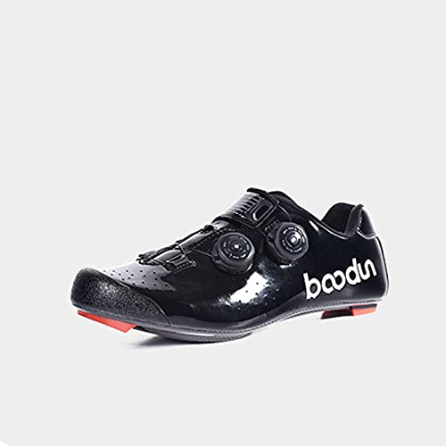 Cycling Shoes Men Women Road Biking Compatible Buckle Delta, Outdoor Road Cycle Shoes Breathable Stable Comfortable Rider Spin Shoes,Black-43