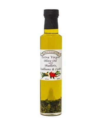 Extra Virgin Olive Oil With Shallots, Scallions & Leeks, Cooking Oil, Dipping Oil, 8.5 FL OZ, KosherMI Certified, Vegan, Plant Based, Vegan, Gluten Free, Salt Free, Sugar Free