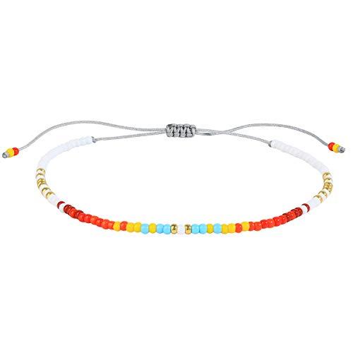 KELITCH Friendship Bracelets Damen Mädchen Shell Pearl Japanische Samenperlen Charm Armbänder Handmade Adjustle Rope Herren Armreif 28D