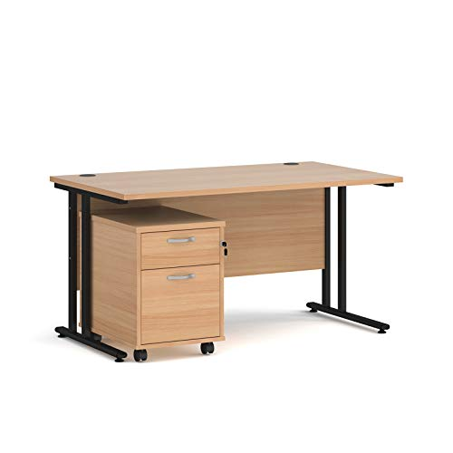 Maestro - Juego de 25 escritorios, 800 mm de profundidad, recto, pedestal móvil con 2 cajones con pata voladiza, color haya, 140 cm