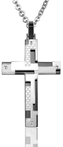 Abellale - Collar de Acero Inoxidable para Hombre, Colgante de Dama, Cruz Diagonal, 53 x 35 mm, Color Negro, Grabado Gratis