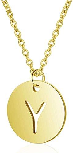 NC110 Collares de Monedas con Colgante de Letra Hueca Personalizada, Regalo de joyería para Hombres y Mujeres YUAHJIGE