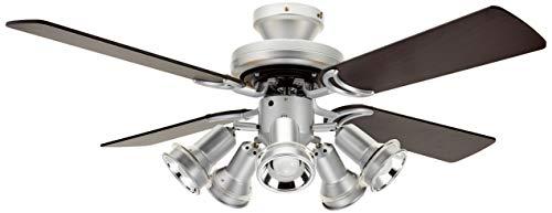 オーデリック LEDシーリングファン(LED電球ミニクリプトン形5.7W×5・光色切替調光) 4枚羽根(リバーシブル) リモコン付き SH9072LDR W