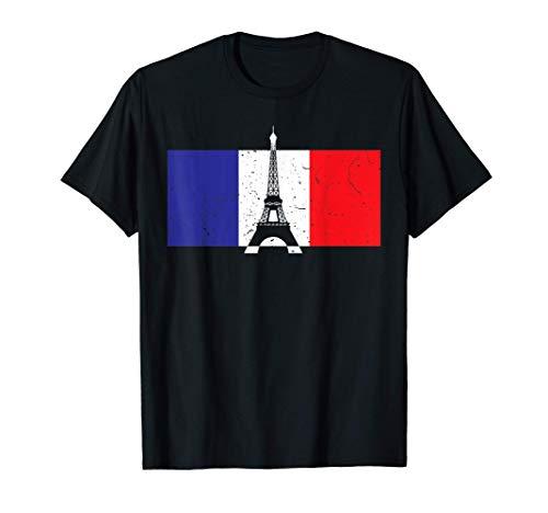 Witziges Frankreich T-Shirt - Eiffelturm Paris Franz. Fahne T-Shirt