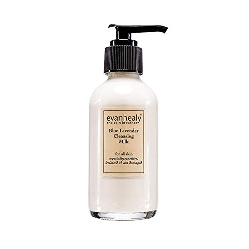 evanhealy Blue Lavender Cleansing Milk - Calms and Treats Reactive Skin - Moisturizing Gentle Deep Clean For Sensitive Skin