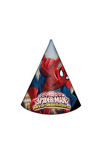 Ciao Procos 85166–Papier-Hüte Ultimate Spider Man Web Warriors, 6Stück, rot/blau/hellblau