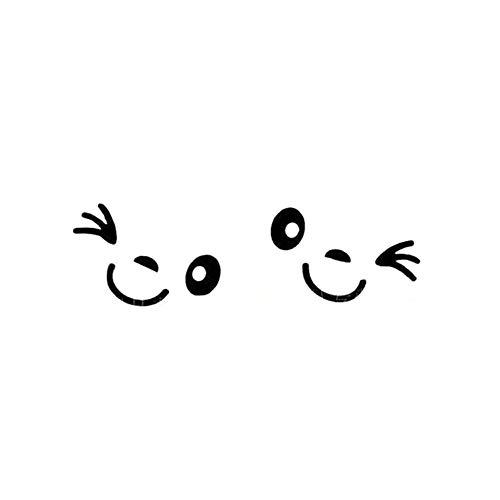 Auto Aufkleber, 1 Paar Schöne Lächelnde Gesicht Auto Rückspiegel Aufkleber Reflektierende Aufkleber Dekor Weiß