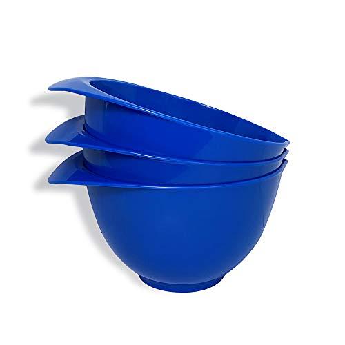 Rührschüssel mit Ausguss und Griff, dunkelblau, 3er-Set, wunderschönes, buntes Schüssel-Set, kompakt, stapelbar und ergonomisches Design, hergestellt in Großbritannien
