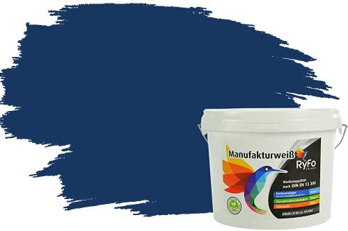 RyFo Colors Bunte Wandfarbe Manufakturweiß Marineblau 3l - weitere Blau Farbtöne und Größen erhältlich, Deckkraft Klasse 1, Nassabrieb Klasse 1