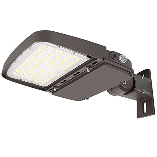 Xbuyee 150W LED Parking Lot Light with Photocell, Dimmable LED Shoebox Area Outdoor Street Pole Lights with Arm Mount, 130LM/W 5000K 100-277V IP65, Power Selectable (75W/100W/150W) ETL DLC Listed