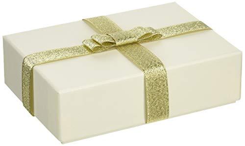 【TAKEMEKI】 ギフトボックス ラメホワイト (Lサイズ) ゴールド リボン付き プレゼント ギフト 贈り物 ラッピング 梱包 紙製 貼箱 無地 大 アクセサリー イベント 誕生日 彼女 彼氏 結婚 祝い アニバーサリー 小物入れ 収納 パッケージ