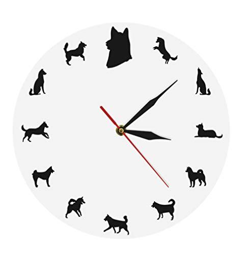 ZYZYY Siberische Husky Wandklok Hond rassen Gift Husky Portret Minimalistisch Ontwerp Moderne Wanddecoratie Klok Horloge Husky Hond Liefhebbers Geschenken