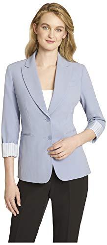 Tahari ASL Women's 2 Button Roll Sleeve Jacket, Forever Blue, 14