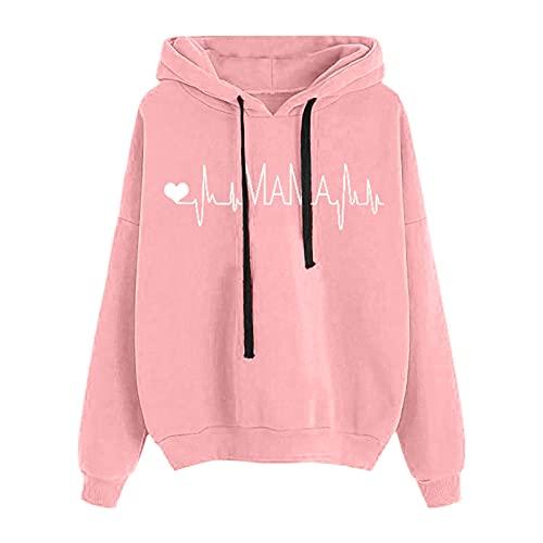 """MEIPIQI Y2K - Sudadera con capucha para mujer, manga larga, diseño con texto en inglés """"Love ECG, sudadera para mujer, chaqueta de invierno para mujer, Rosa., S"""