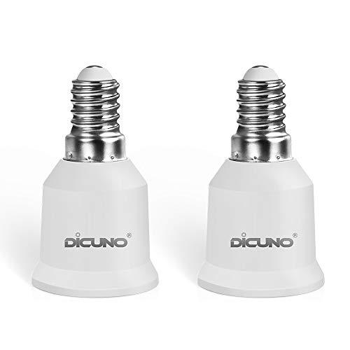 DiCUNO 2P E14 auf E27 Adapter Konverter, Hochwertige Lampenfassung, Hochtemperaturbeständiger Lampensockel für LED-Lampen, Glühlampen und CFL-Lampen