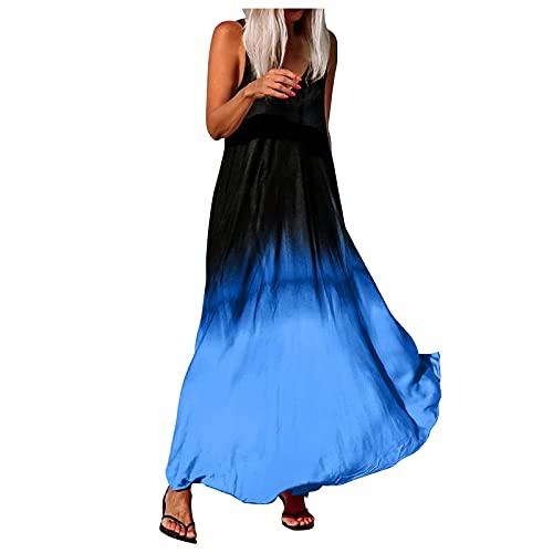 TTivxe Lange jurk voor dames, boho, maxi-jurk, gradient strandjurk, zomer, enkellange wikkeljurk, vrijetijdsjurk