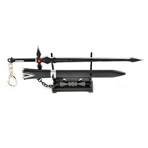 Kirito Sword-Art Online - Abrecartas con forma de espada Dark Repulser, con funda y soporte, regalo para coleccionistas y fanáticos, color negro
