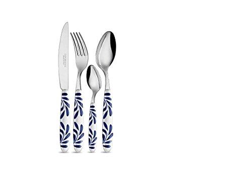 Emporio Zani Touch Mel SANTORINI Servizio posate tavola 24 pz Acciaio inox ABS colore bianco/blu