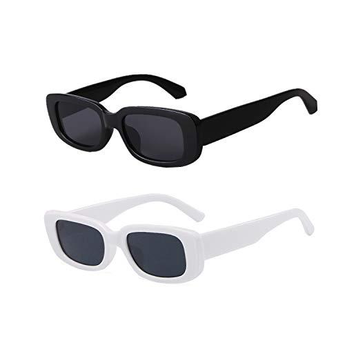 YOJUED Vintage rechteckige Sonnenbrille für Damen und Herren, modische Retro-Brille mit quadratischem Rahmen, Brille mit UV400-Schutz Gr. M, Z-Schwarz/Weiß