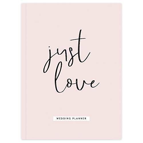 JO & JUDY Hochzeitsplaner Just Love - Wedding Hardcover Buch mit Kapiteln für Budget, Brautkleid, Gästeliste, Checklisten uvm - rosa-schwarzes Design - 18,3 x 24,6 cm