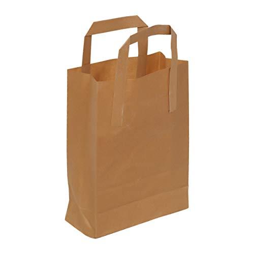 Asiam Impex Sarl Sac en Papier – Poignée Plat - 18x8x24-70gsm – 50 piéces - Papier Kraft Marron - Non imprimé -0 Recyclable