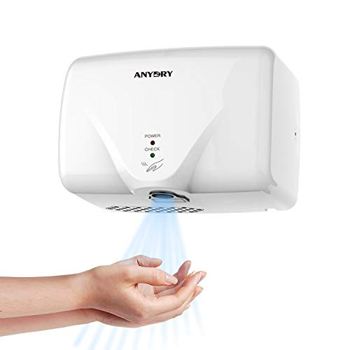anydry 2803K súper Mini secador de Manos, secador de Manos eléctrico, secador de Manos automático, secador de Manos montado en la Pared, Carcasa de plástico ABS. 1150 vatios.(Blanco)