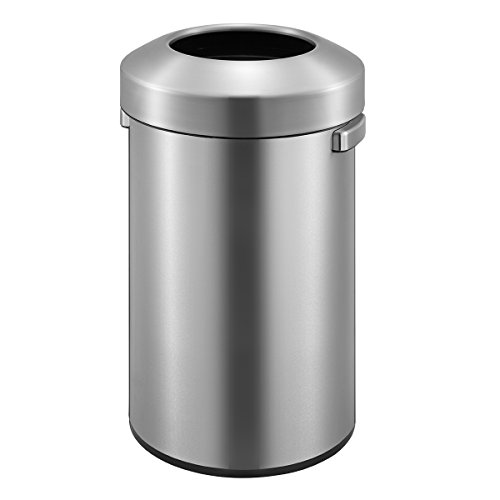 EKO Urban Commercial 90 Liter / 23.7 Gallon Open Top Trash Can, Brushed Stainless Steel Finish