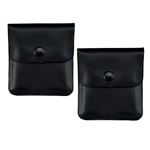 携帯灰皿 2枚入 持ち運び 高級 PU 革 小型 密閉 軽量 ポータブル ポケット 屋外 喫煙所 ポータブル エチケット アッシュトレイ 収納ポーチ