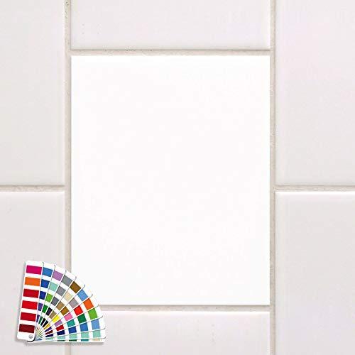 GRAZDesign Fliesenaufkleber 20x25cm weiß glänzend Bad/Küche einfarbig Fliesenfolie Klebefliesen Klebefolie auf Fliesen 1 x Farbmuster