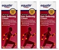 Equate Ultra Strength Pain Relieving Cream Muscle Rub 4 Ounce Tube Pack of 3 product image