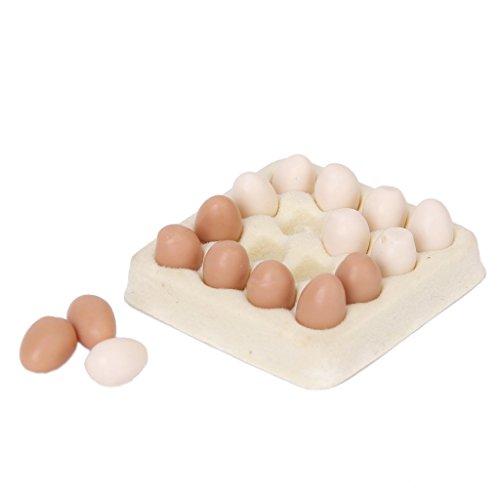 TOPSALE Huevo en Miniatura de casa de munecas 1/12 Carton con 16pzs Huevos casa de munecas