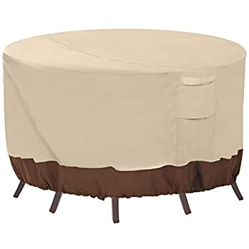 Vailge Round Patio Furniture Covers 100% Waterproof Outdoor Table Chair Set Covers Anti-Fading Cover for Outdoor Furniture Set UV Resistant 84  DIAx28 H Beige & Brown