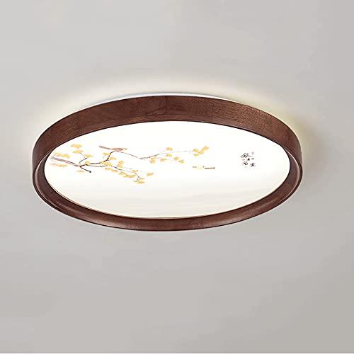 LXIANG Lámpara de techo de dormitorio redonda de madera de estilo europeo, Lámparas de sala de estar de madera maciza simples, Lámparas de cambio de luz de tres colores de estudio de moda ultradelgada