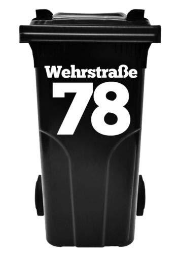 HR-WERBEDESIGN Hausnummer, Beschriftung,Aufkleber für Abfalltonne, Mülltonne,Num Müllbehälter,