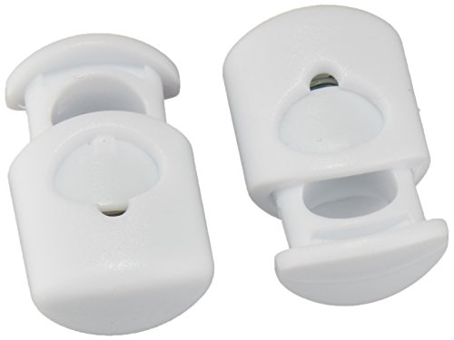 Sammons Preston 58061 Lace Locks, White, Secure Shoelaces with One Hand, Plastic Locks Create Slip-On Shoes, Slide Foot In, No Need to Tie, Pinch & Pull Tab to Loosen or Tighten Laces, Adaptive Dressing Aid