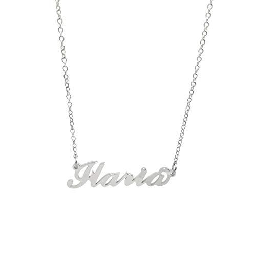 Collana in acciaio con il nome per donna regolabile colore argento anallergica girocollo regolabile (Ilaria)