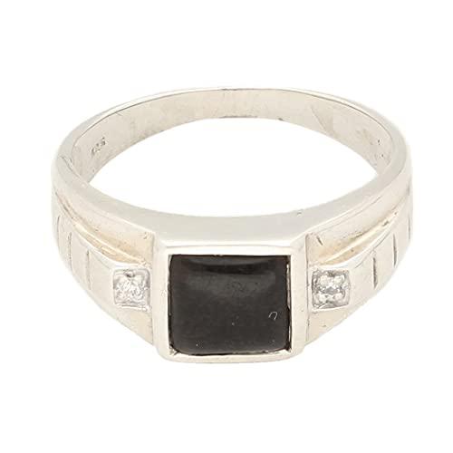 Jollys Jewellers Sello de ónix de plata de ley para hombre y diamantes de imitación (tamaño R 1/2) cabeza de 7 x 7 mm