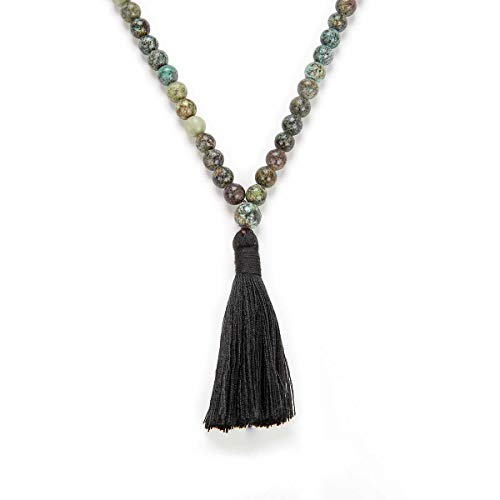 Yoga Necklace Jewelry Beaded Long Tassel Necklace Jasper with 108 Mala Beads for Women or Men